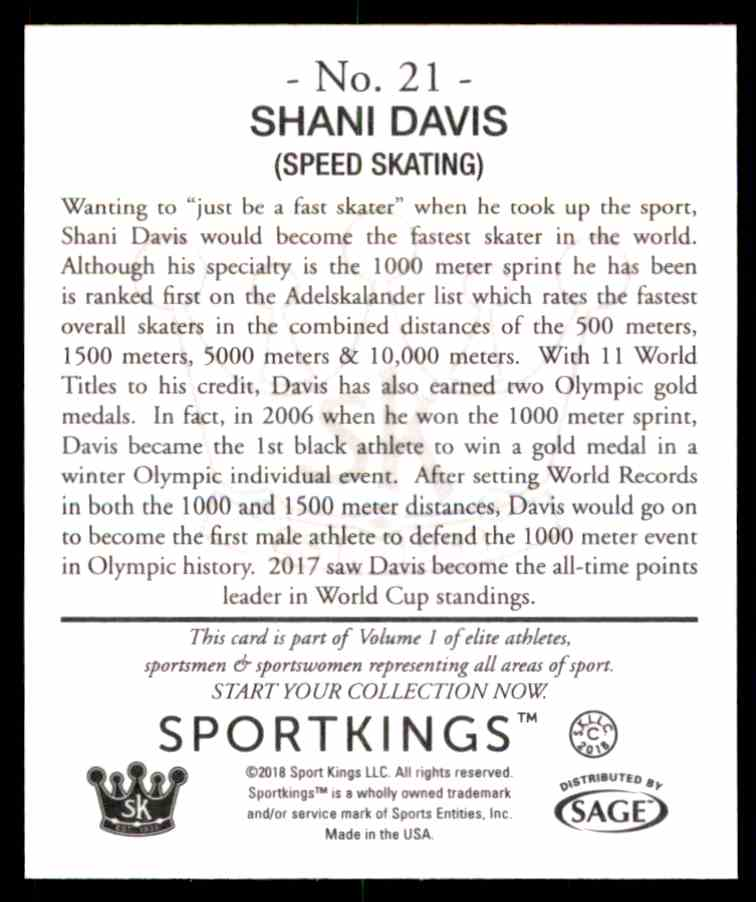 2018 Sportkings Black Back Retail Mini Shani Davis #21 card back image