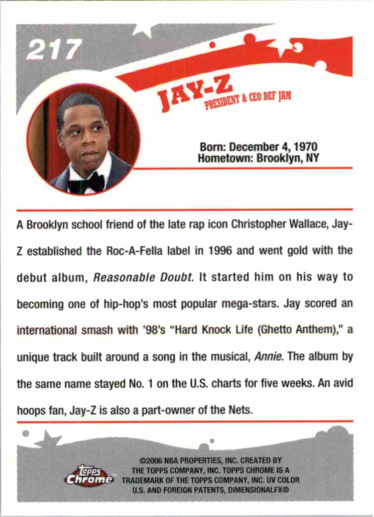 2006 Topps Chrome Jay-Z #217 card back image