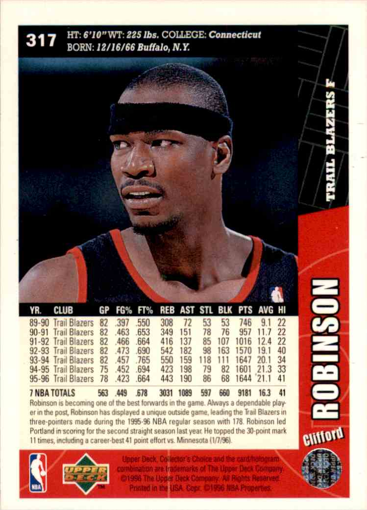 1996-97 Collector's Choice Clifford Robinson #317 card back image