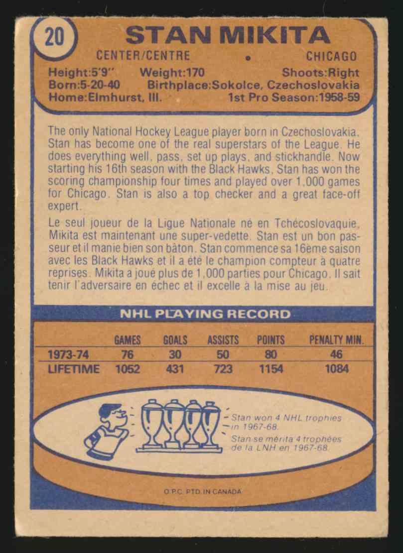 1974-75 O-Pee-Chee Stan Mikita #20 card back image