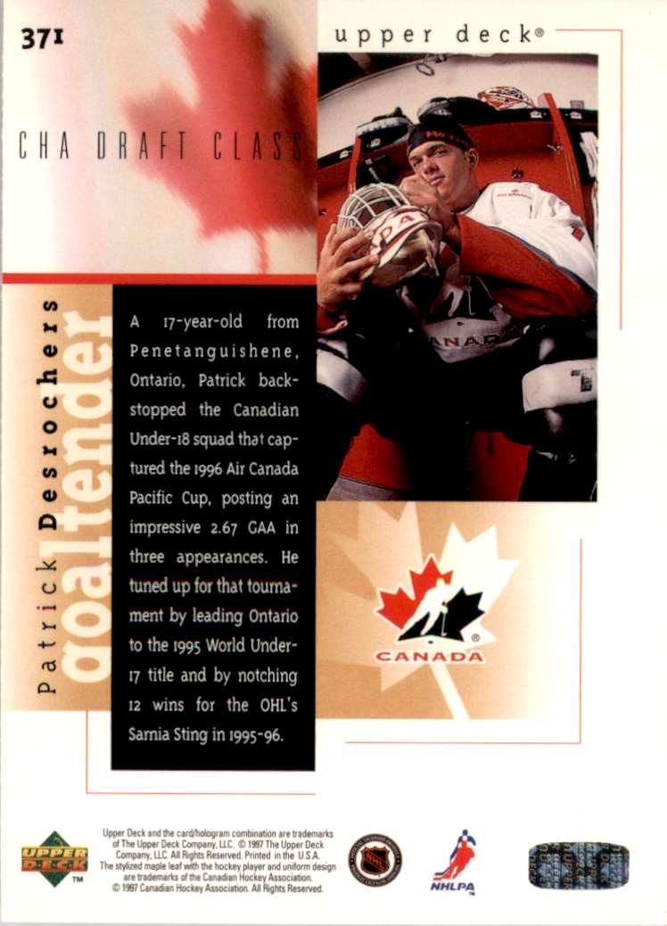 1996-97 Upper Deck Patrick Desrochers RC #371 card back image