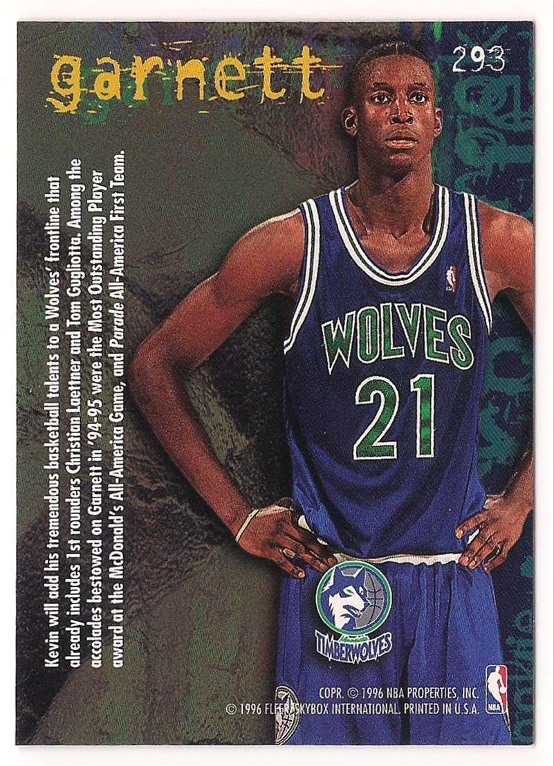 1995-96 Fleer Kevin Garnett #293 card back image