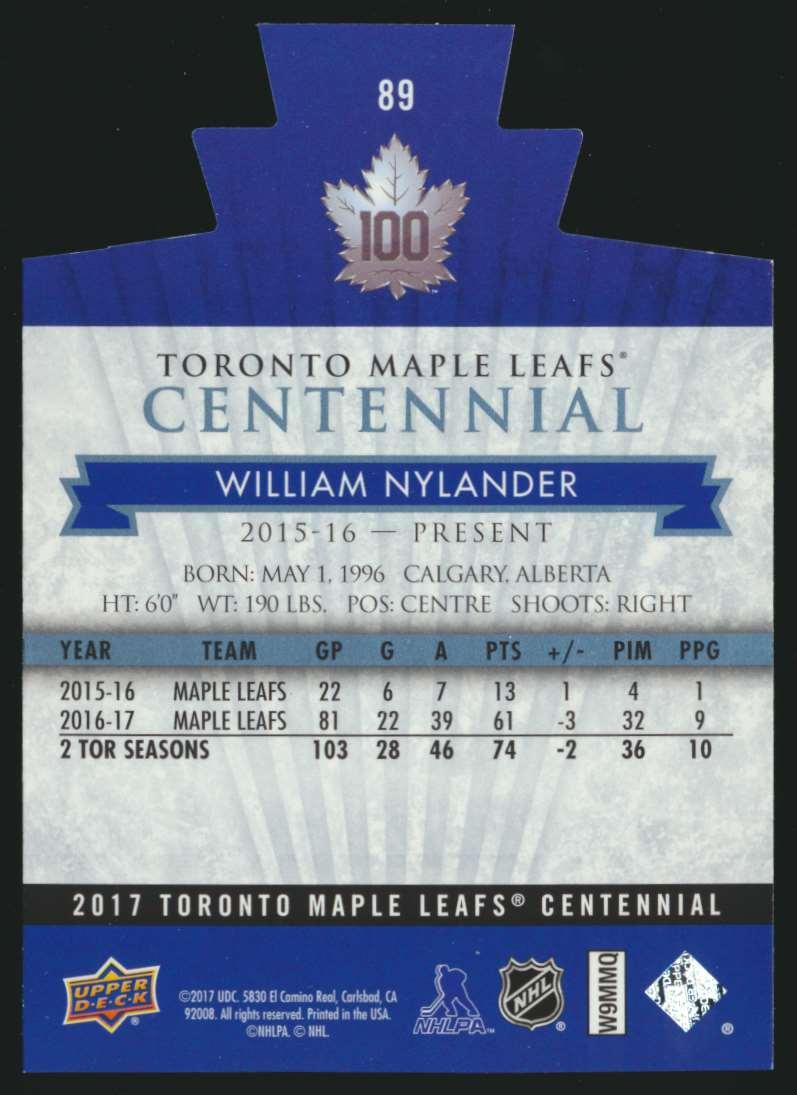 2017-18 UD Maple Leafs Centennial Die Cut William Nylander #89 card back image
