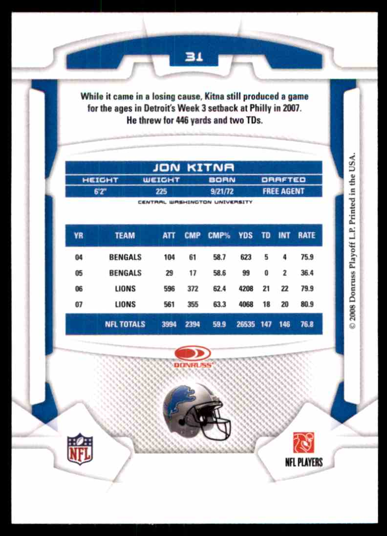 2008 Leaf Rookies And Stars Jon Kitna #31 card back image