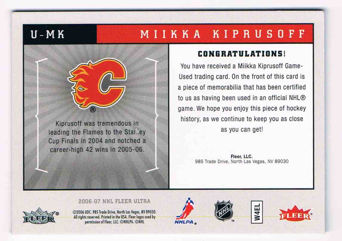 2006-07 Upper Deck Ultra Uniformity Mikka Kiprusoff #U-MK card back image