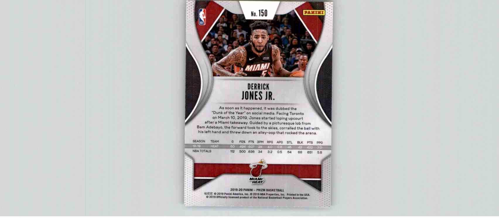 2019-20 Panini Prizm Basketball Prizm Derrick Jones JR. #150 card back image