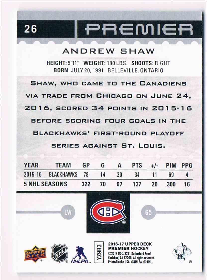 2016-17 Upper Deck Premier Andrew Shaw #26 card back image