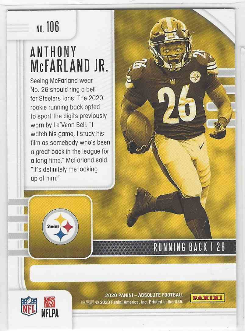 2020 Panini Absolute Anthony Mcfarland, JR. #106 card back image