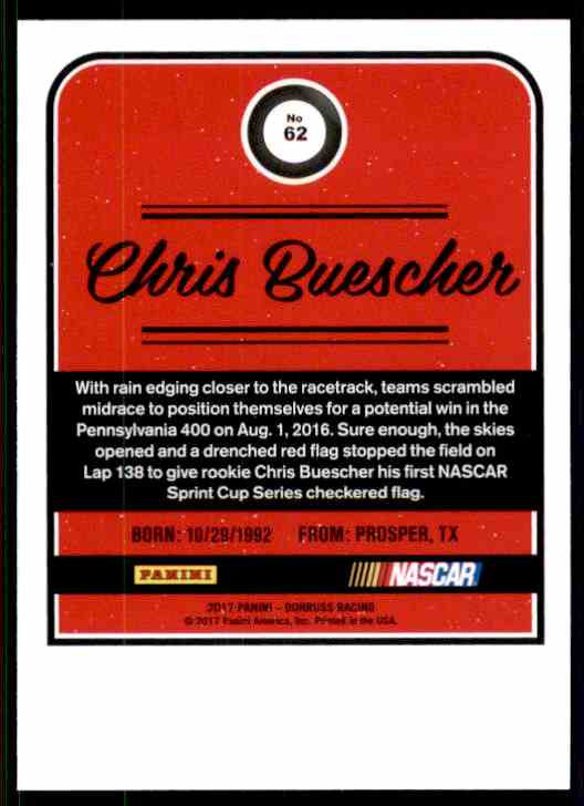 2017 Donruss Chris Buescher #62 card back image