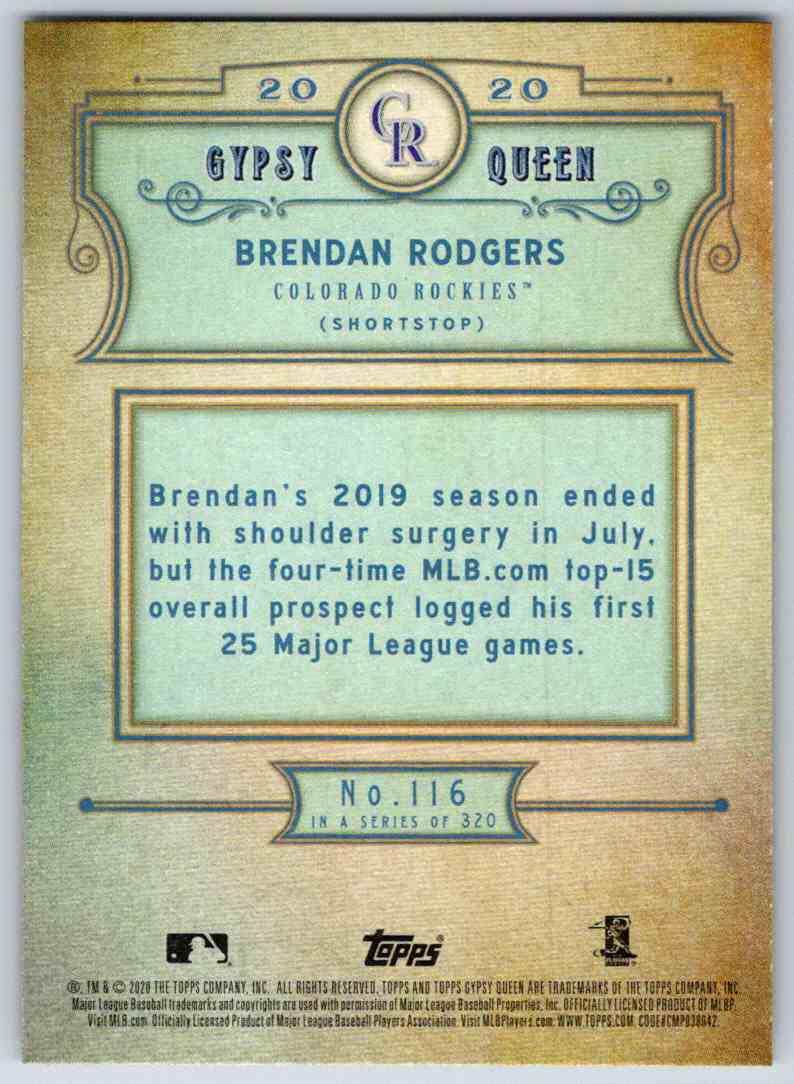 2020 Topps Gypsy Queen Base Brendan Rodgers #116 card back image