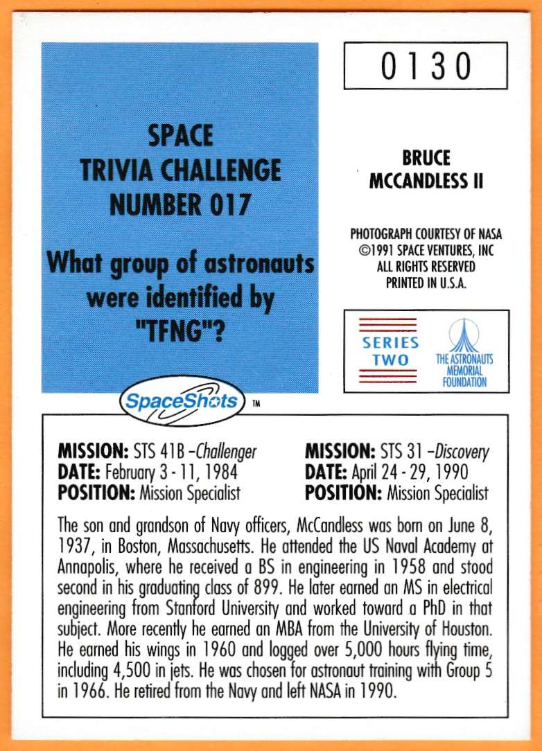 1991 Space Shots Space Trivia Challenge Bruce McCandless II #130 card back image