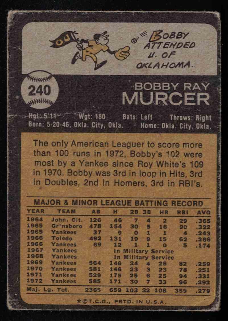 1973 Topps Bobby Murcer F-G creases #240 card back image