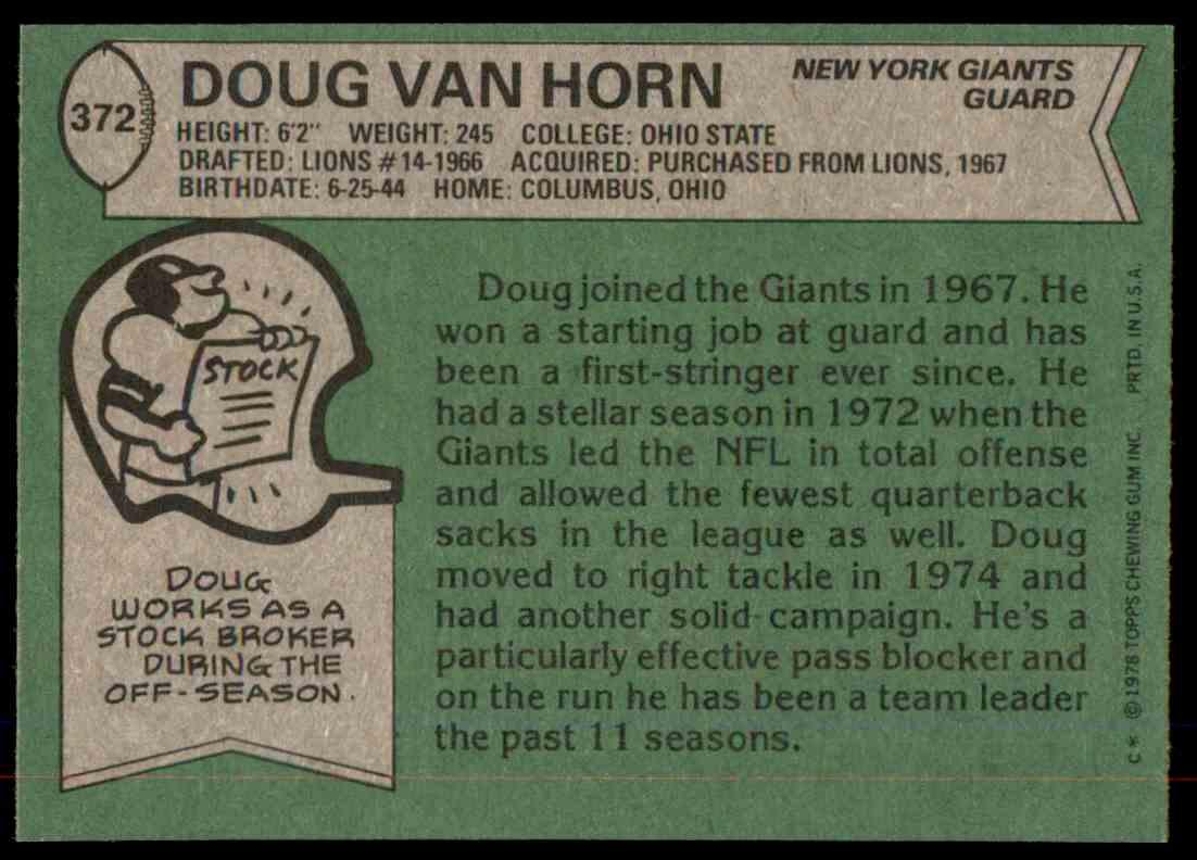 1978 Topps Football Doug Van Horn #372 card back image