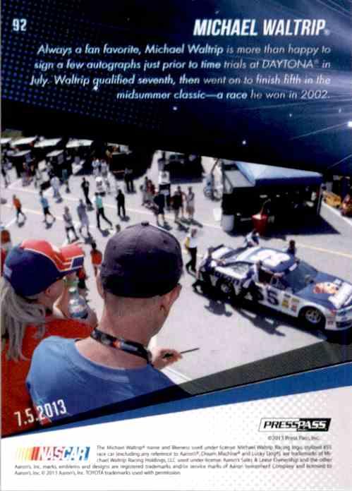 2014 Press Pass Michael Waltrip #92 card back image