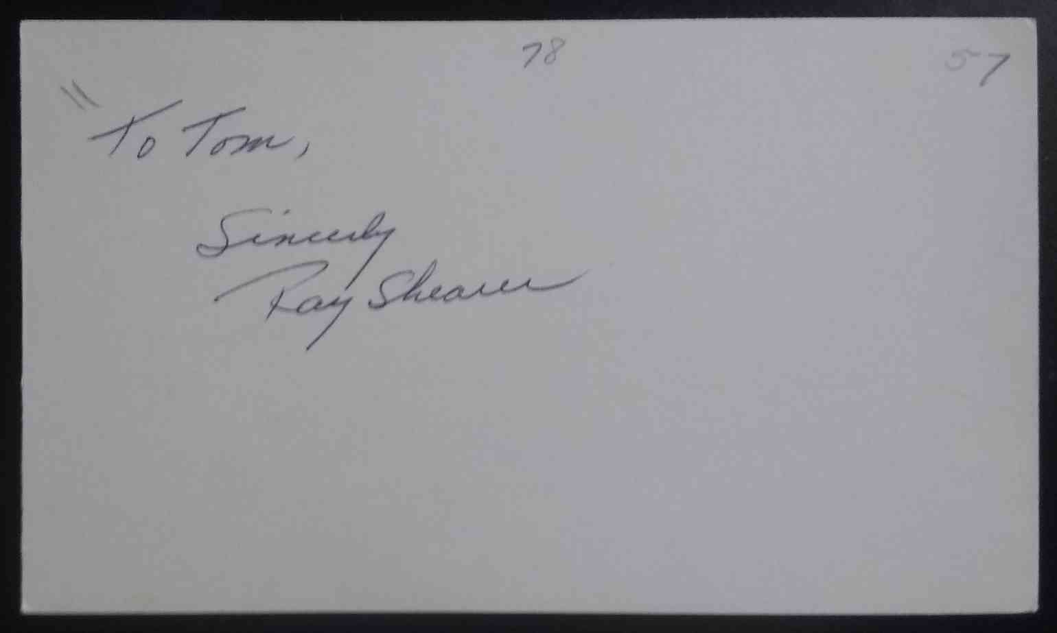 1957 3X5 Ray Shearer card front image