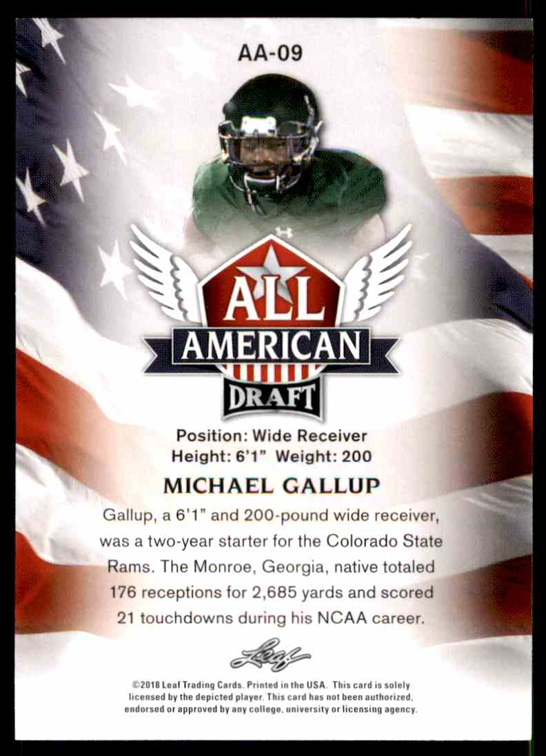 2018 Leaf Draft Michael Gallup #AA-09 card back image