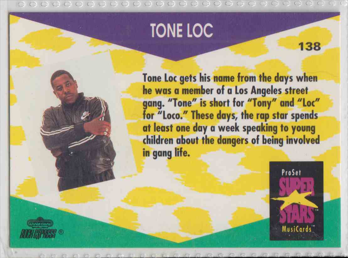 1991 Pro Set SuperStars MusiCards Tone Loc #138 card back image