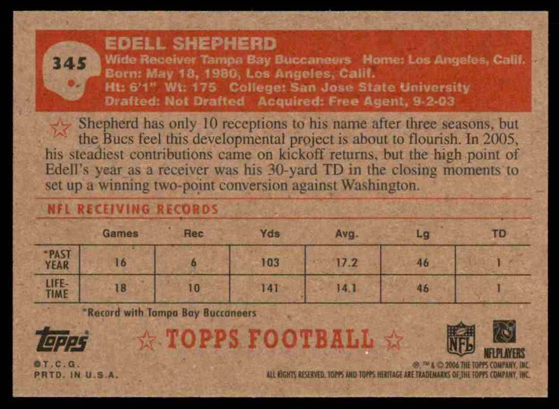 2006 Topps Heritage Edell Shepherd SP RC #345 card back image