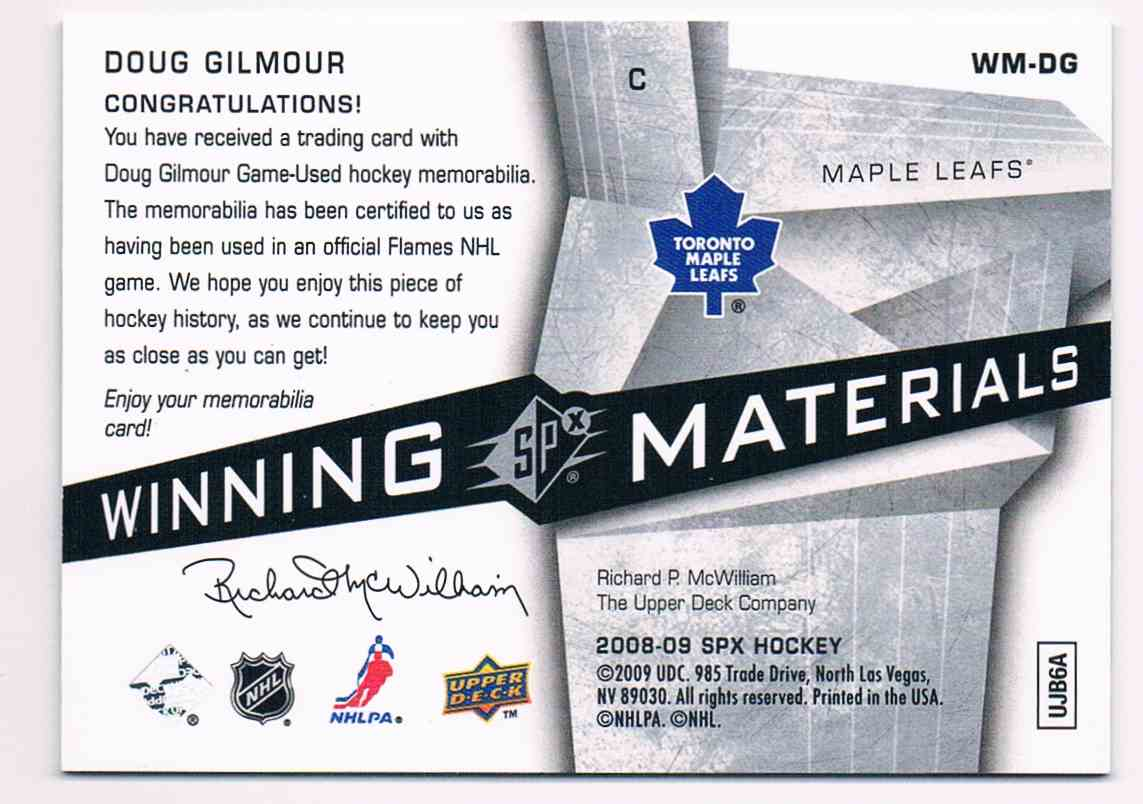 2008-09 Upper Deck Spx Winning Materials Doug Gilmour #WM-DG card back image