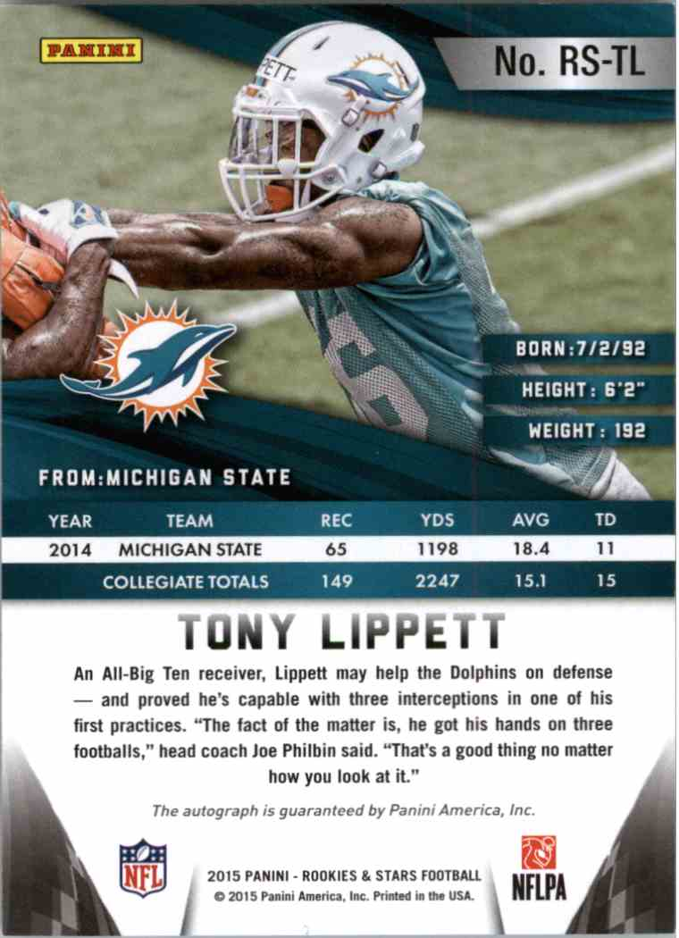 2015 Panini Rookies & Stars Tony Lippett #RS-TL card back image