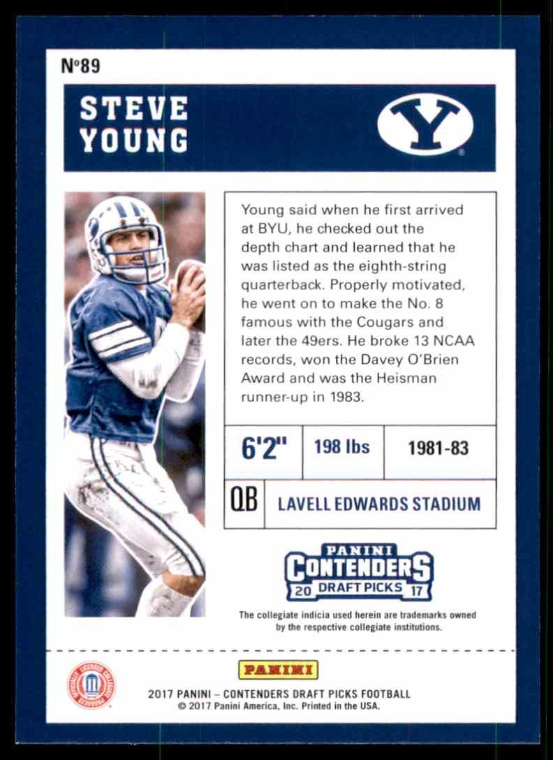 2017 Panini Contenders Draft Picks Steve Young #89 card back image