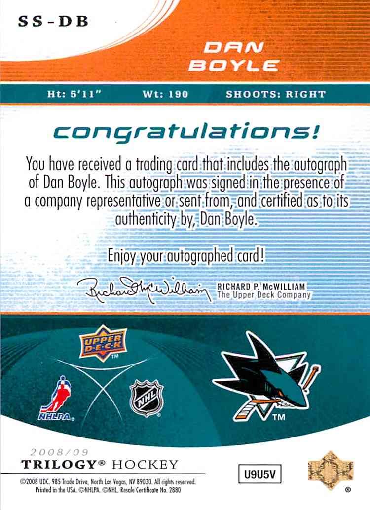 2008-09 Upper Deck Trilogy Dan Boyle #SS-DB card back image