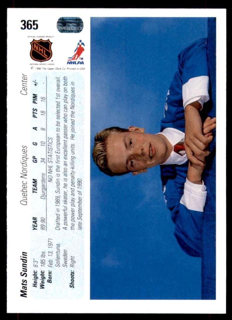 1990-91 Upper Deck Mats Sundin RC #365 card back image