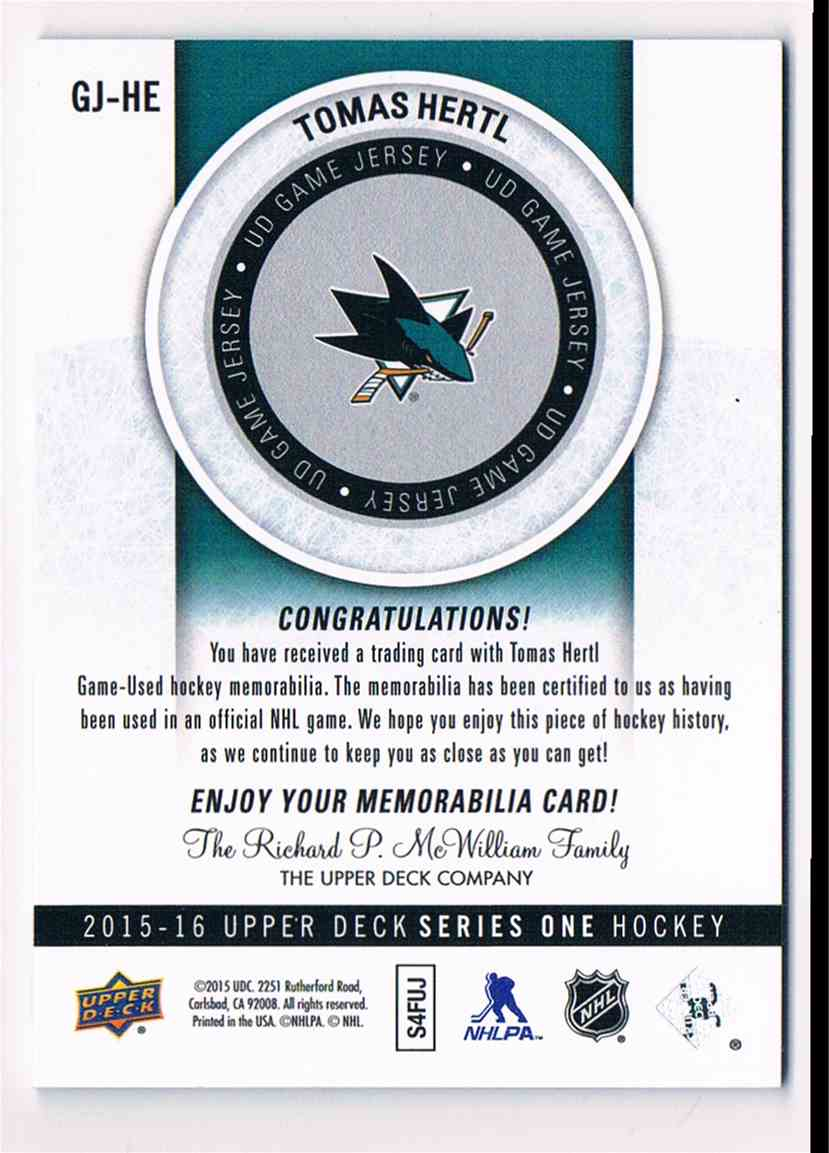 2015-16 Upper Deck Series One Tomas Hertl (B) #GJ-HE card back image