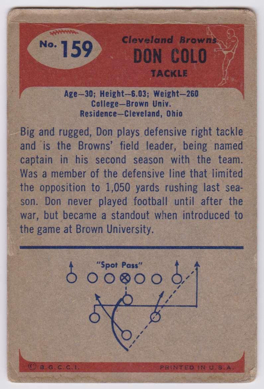 1955 Bowman Don Colo #159 card back image