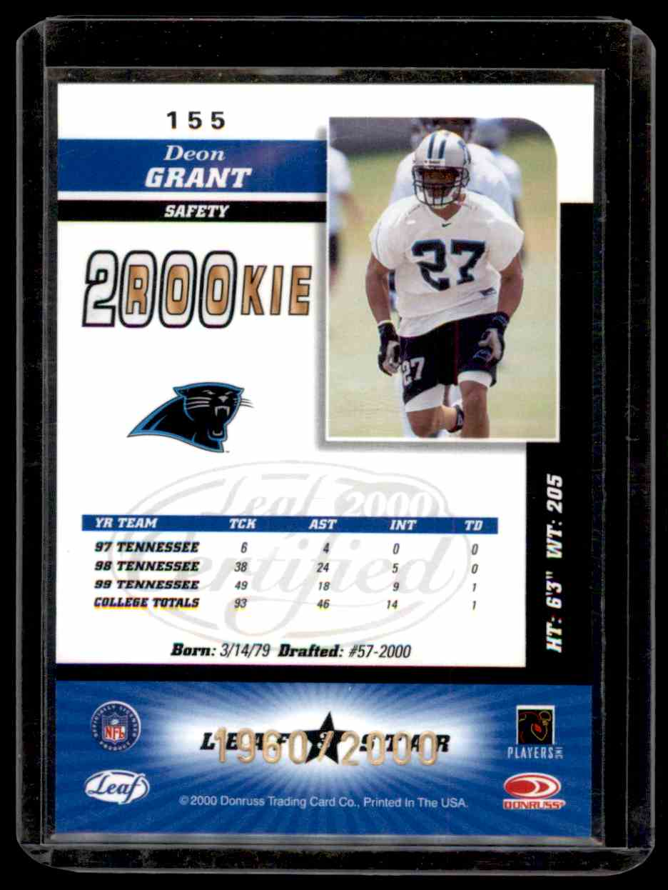 2000 Leaf Certified Deon Grant #155 card back image