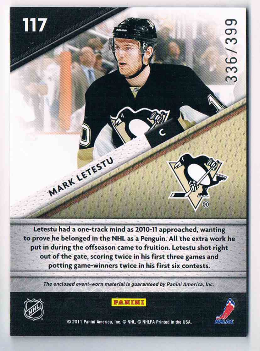 2011-12 Certified Fabric Of The Game Mark Letestu #17 card back image