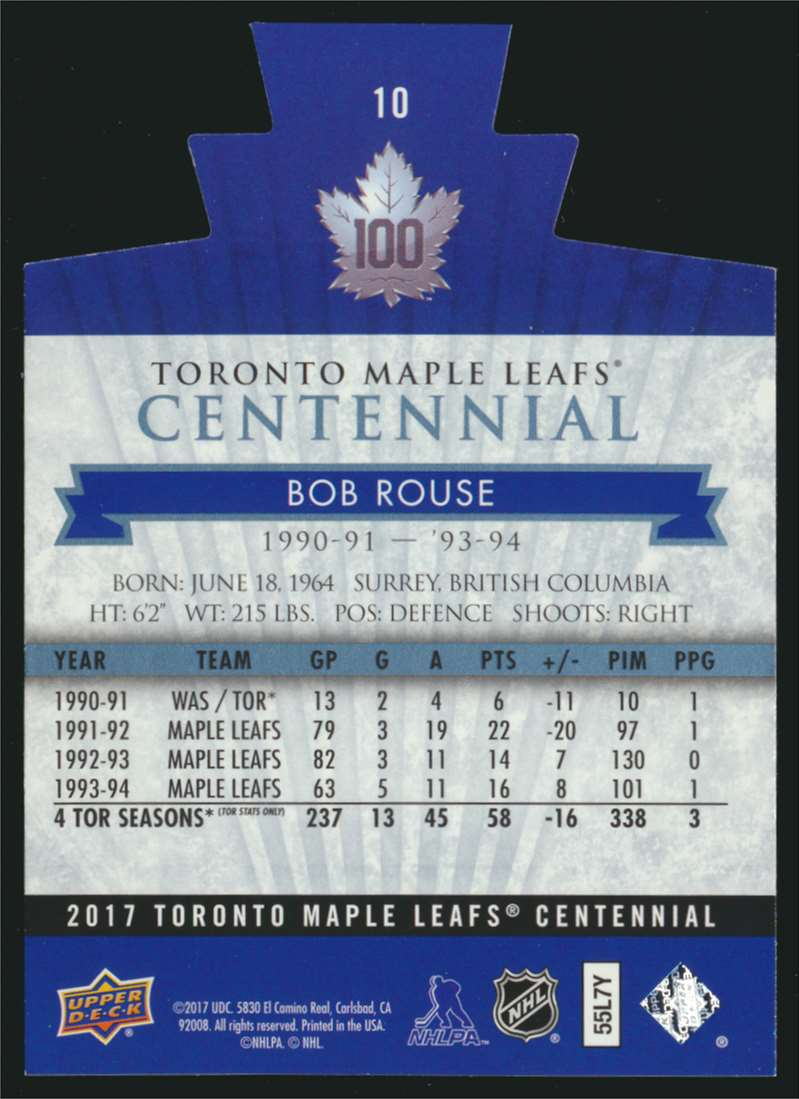 2017-18 UD Maple Leafs Centennial Die Cut Bob Rouse #10 card back image