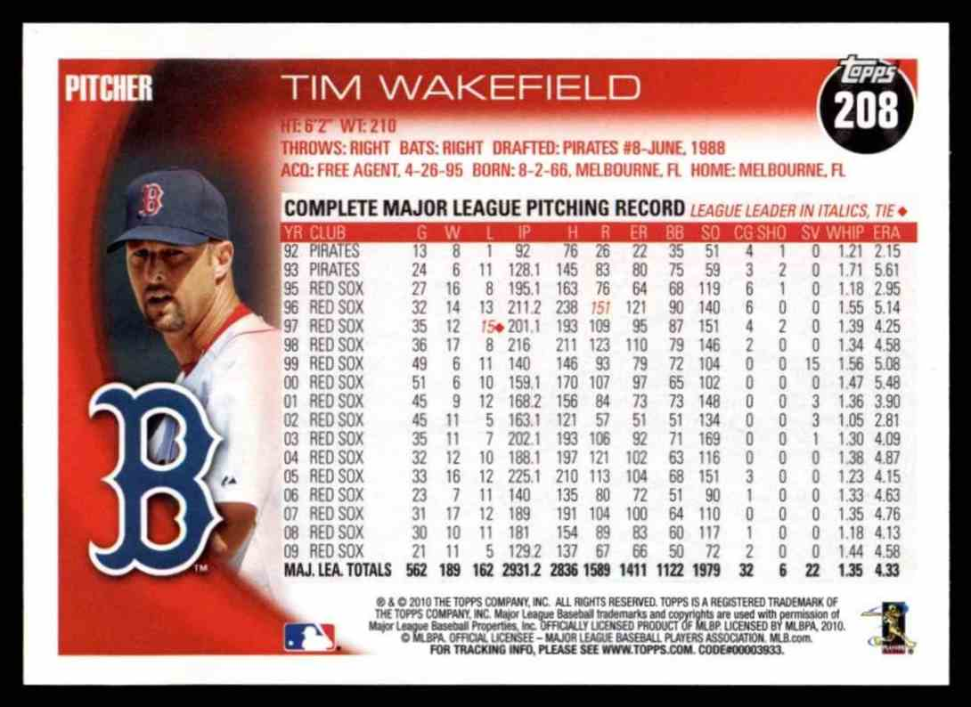 2010 Topps Tim Wakefield #208 card back image