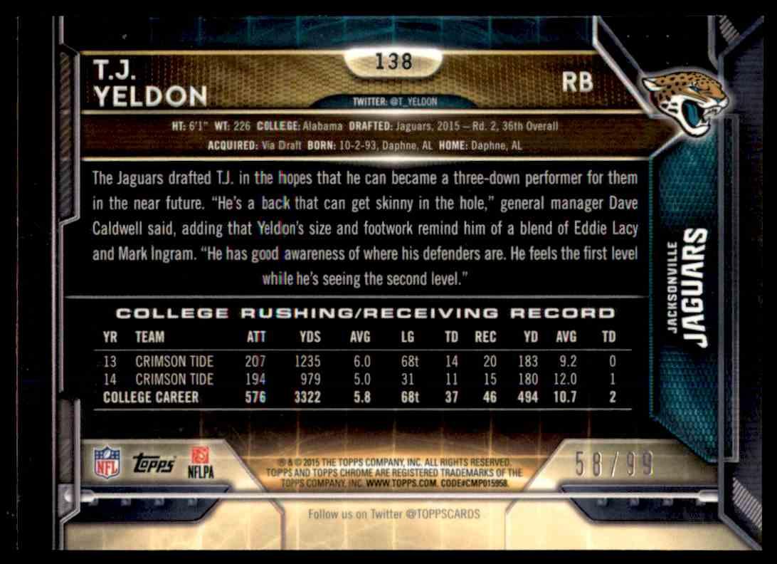 2015 Topps Chrome Sepia Refractor T.J. Yeldon #138 card back image
