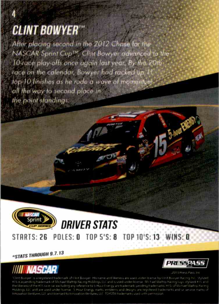 2014 Press Pass Clint Bowyer #4 card back image