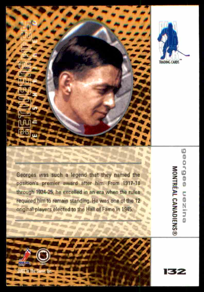 2001-02 ITG Between The Pipes Georges Vezina #132 card back image