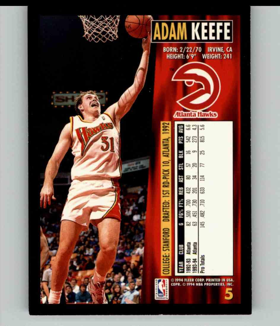 1994-95 Fleer Adam Keefe #5 card back image