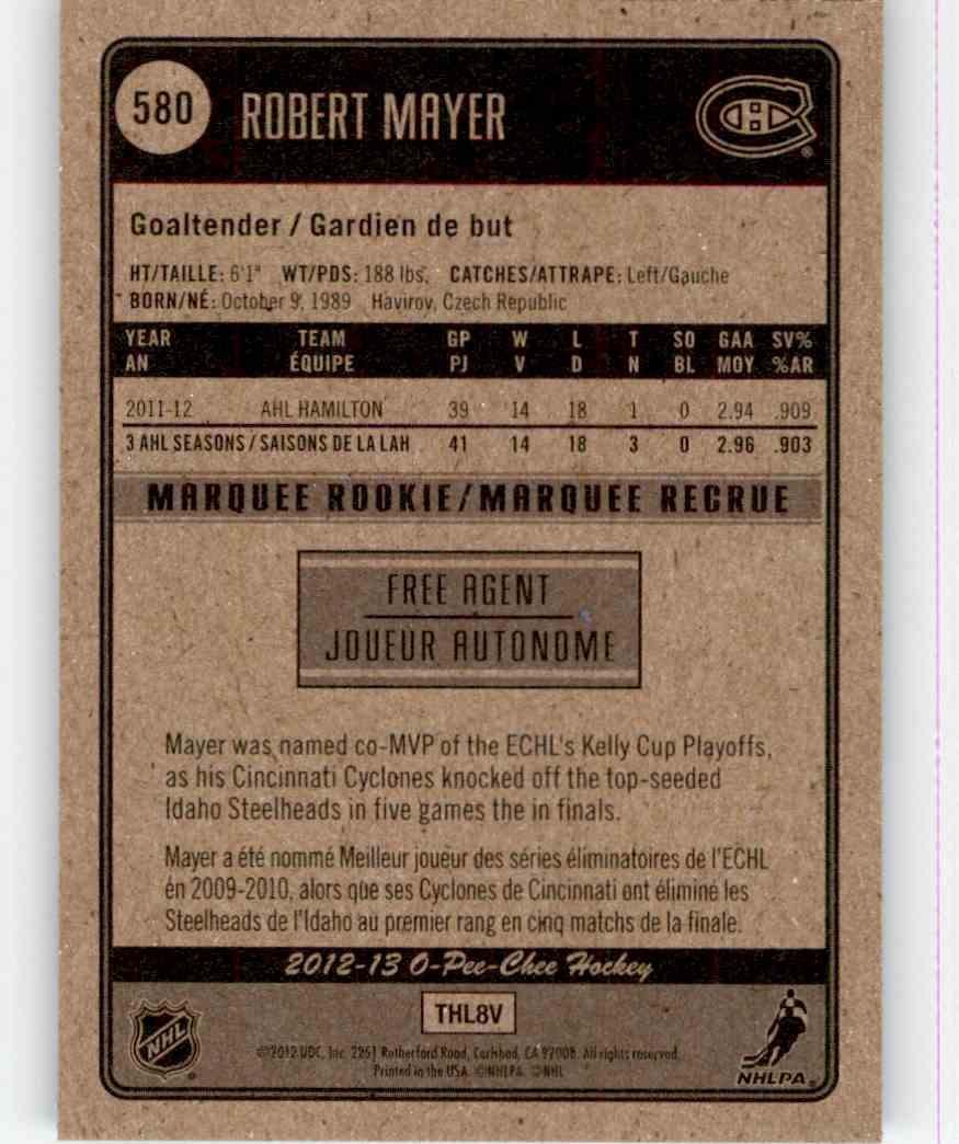 2012-13 O-Pee-Chee Robert Mayer #580 card back image