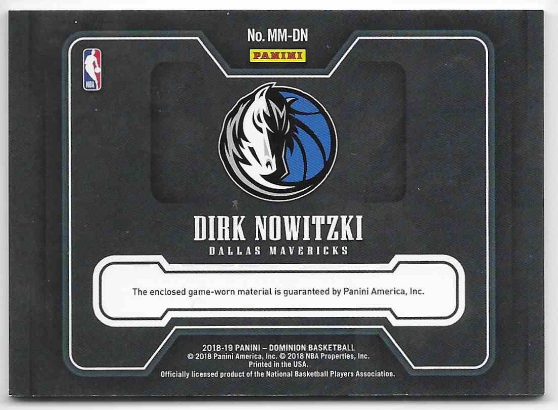2018-19 Pannini Dominion Mammoth Materials Dirk Nowitzki #MM-DN card back image