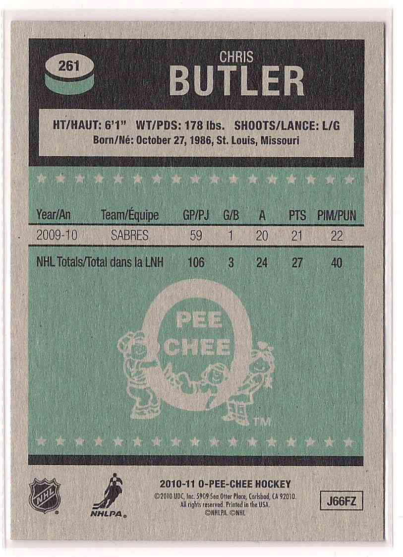 2010-11 O-Pee-Chee Retro Chris Butler #261 card back image