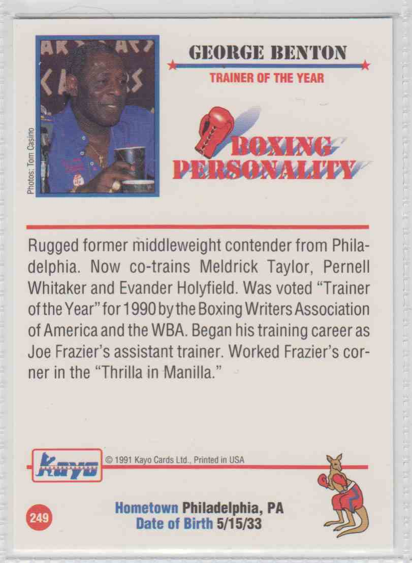 1991 KAYO GEORGE BENTON BOXING CARD #249 ~ TRAINER ~ PHILADELPHIA PA
