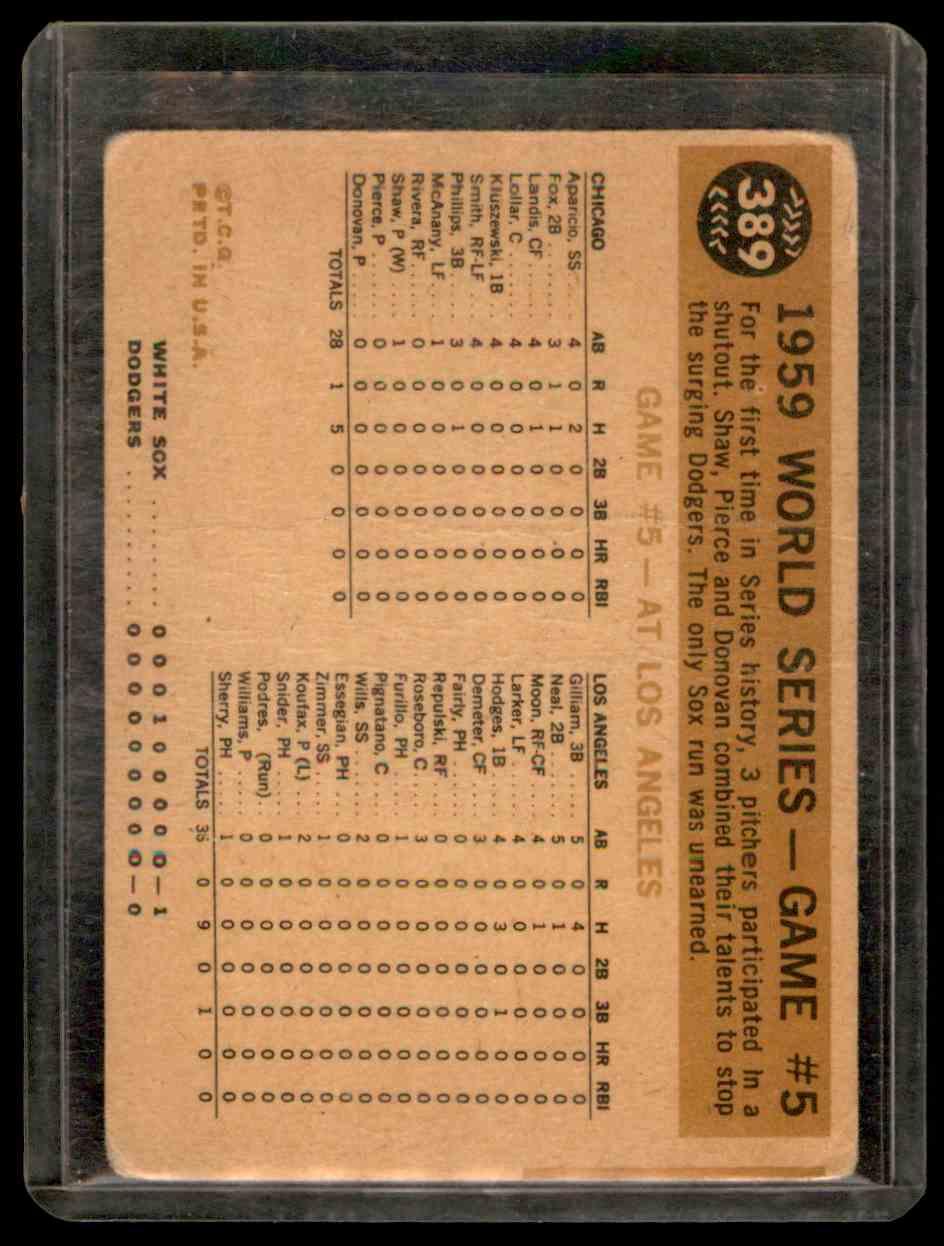 1960 Topps Aparicio Maury Wills #389 card back image