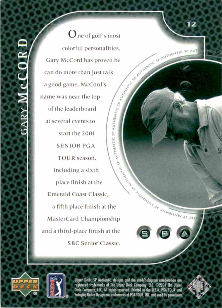 2001 SP Authentic Preview Gary McCord #12 card back image