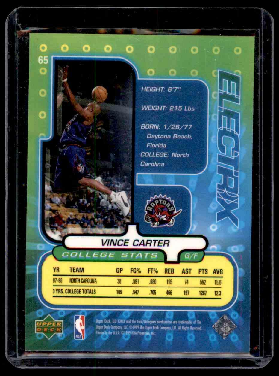 1998-99 Upper Deck Ionix Vince Carter #65 card back image