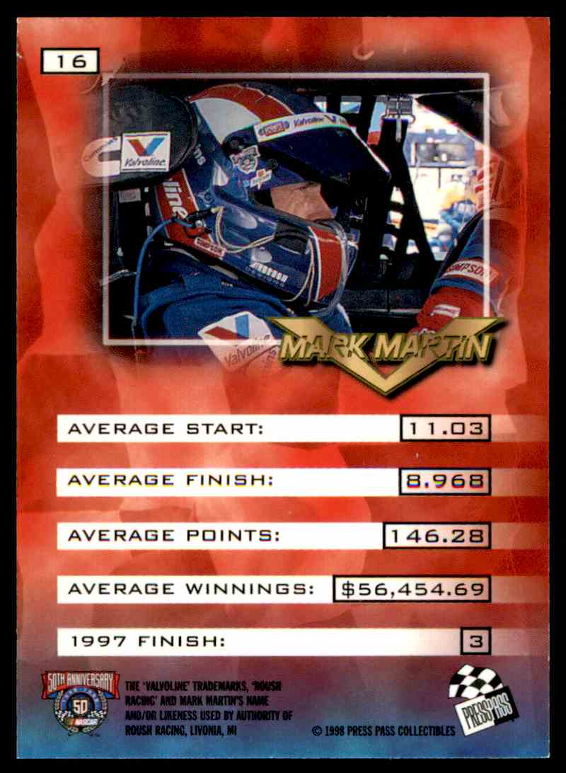 1998 Press Pass Vip Mark Martin #16 card back image