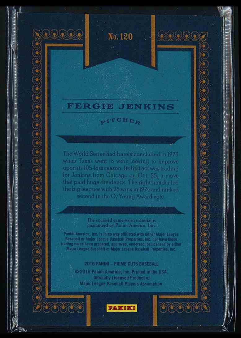 2016 Panini Prime Cuts Fergie Jenkins #120 card back image