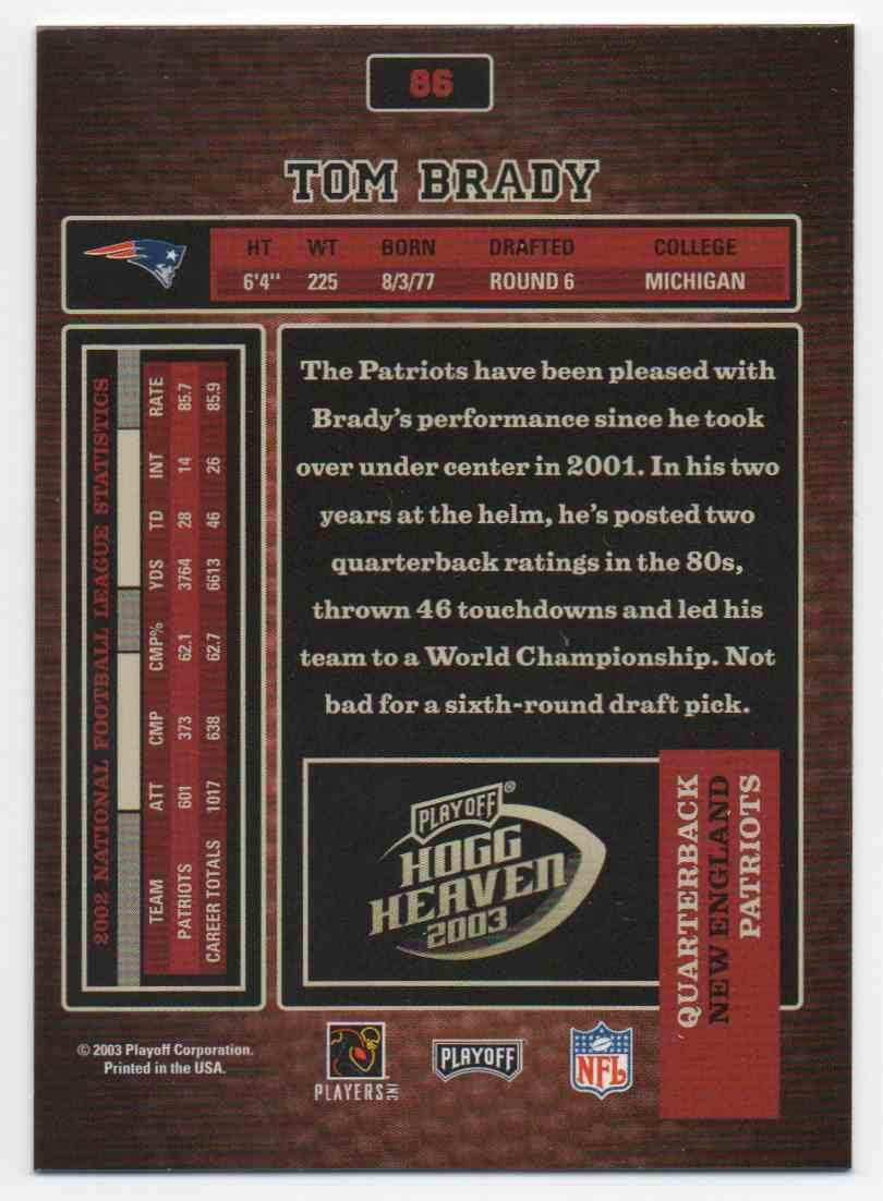 2003 Playoff Hogg Heaven Tom Brady #86 card back image