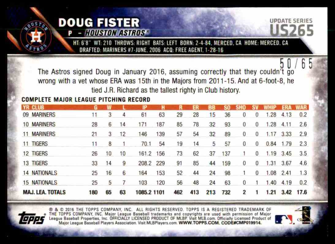 2016 Topps Update Series Black Doug Fister #US265 card back image
