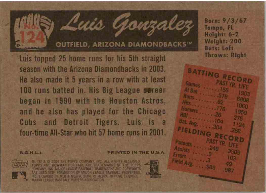 2004 Bowman Heritage Luis Gonzalez #124 card back image