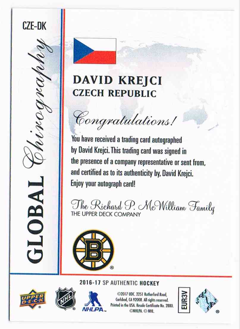 2016-17 Upper Deck SP Authentic Global Chirography David Krejci #CZE-DK card back image